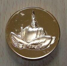 Superbe et énorme médaille Minamoto No Yoritomo dorée OR fin 24 Carats *L@@K*