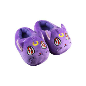 Anime Sailor Moon Luna Cat Plush Slippers Purple Cat 28cm Length Birthday Gift