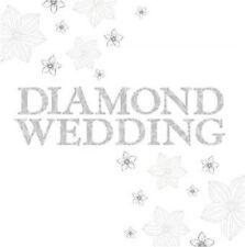 60th Diamante Tarjeta Aniversario Boda Con Purpurina Acabado Metálico Premium