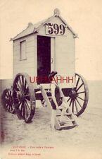 pre-1907 BELGIUM, OSTENDE - UNE VOILEA L'HORIZON - femme à la maison de bain 599