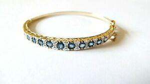 Ladies 9ct YELLOW GOLD Graduating SAPPHIRE and DIAMOND Bangle/Bracelet - Boxed