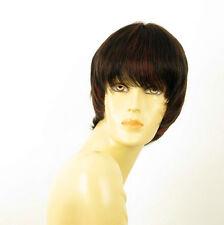 perruque femme 100% cheveux naturel courte méchée noir/rouge DOLLY 1b410