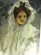 Harrison Fisher Girl in WHITE LACE CLOAK HEAD SCARF 1907 Antique Print Matted