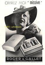 PUBLICITE ROGER & GALLET PARFUM MISSIVE COFFRET FEMME ART DECO DE 1935 FRENCH AD