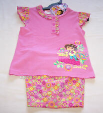 Dora The Explorer Girls Pink Flowers Printed Pyjama Set Size 4 New
