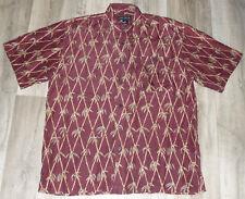 Oleg Cassini Mens 100% Silk Button Down Hawaiian Style Shirt Bamboo Print Size L
