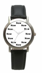 """""""NOW"""" Is The Time On The Dial Of The Unisex Matte Chrome Watch With Black Strap"""