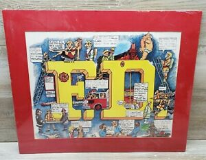 1986 Peter Treasure Masters Funny Fire Department Comic Cartoon Matted Poster