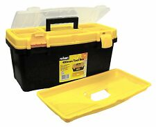 Rolson Portable 480mm Black Yellow Plastic Tool Box Storage Electrician 68930