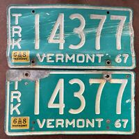 Pair of 1967-68 Vintage Vermont Truck Green License Plates w/Big Numbers #14377