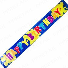 EXTRA LONG BOYS HAPPY BIRTHDAY BANNER 2.5m/8ft Blue Monster Bash Foil Party Sign