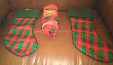 2 Green and  Red Plaid Christmas Stockings and Tree Skirt Set