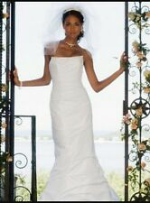 David's Bridal Wedding Dress Allover Draped White Mermaid Wedding Dress Size 2
