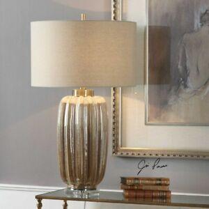 GISTOVA MODERN PEARLESCENT RIBBED CERAMIC TABLE LAMP CRYSTAL BASE UTTERMOST