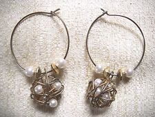 NWOT FAUX PEARL & GOLD TONE BEADED HOOPS W/WOUND WIRE & FAUX PEARL CAGES