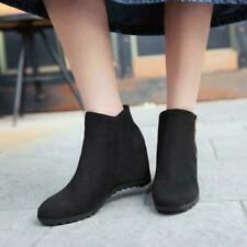 Womens Round Toe Zipper Hidden Heels Fashion Ankle Boots Casual Shoes Plus Size