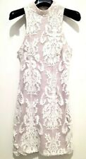 Rumor Boutique Cocktail Dress Sleeveless Lace Tieup Scallop Ivory S New