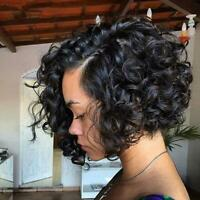 100% Brazilian Remy Human Hair Short Curly Lace Front Wig Black Pre-Plucked US