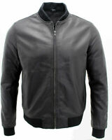 Mens Casual Black 100% Real Leather Bomber Jacket