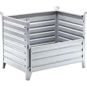 "XL Half Drop Front Galvanised Steel Metal Stacking Box Stillage L50 x W35 x H39"""