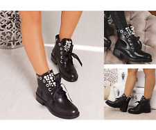Womens Lace Up Ankle Boots Ladies Pearl Studded Chelsea Biker Block Heel Shoes