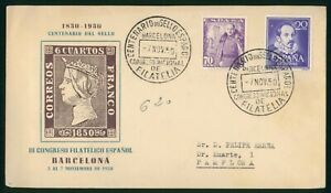 Mayfairstamps Spain FDC 1950 III Congreso Filatelico Barcelona First Day Cover w
