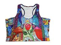 Disney's Beauty & the Beast Stained Glass Custom Printed Singlet Size M BNWOT
