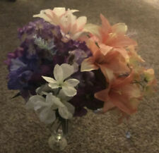 Lot Of Artificial Flowers. Mostly Pink and Purple. 15 Assorted Stems. Spring!
