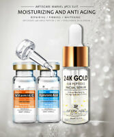 Lanbena Vitamin C Serum+Six Peptides Serum 24K Gold+Hyaluronic Acid Serum Anti
