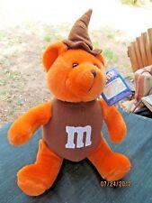 "M&M'S orange CRISPY PLUSH BEAR W BROWN WITCH'S HAT 11"" 2001"