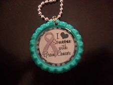 I Love Someone with Brain Cancer gray bottle cap necklace * free chain* aqua