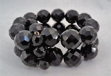 Vintage Retro Black Glass Bead Clamper Bypass Bracelet 2-Strand - Estate Find