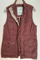 Women's ABERCROMBIE & FITCH Cotton Utility Sleeveless Jacket Vintage Red M