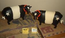 Blossom Bucket Two Cow Set 2 w Bells & Stars 2011 Primitive Folksy Decor