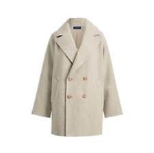 $598 Polo Ralph Lauren Double Breasted Grey Womens Wool Pea Coat Jacket NWT