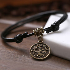 12 Constellation Taurus Zodiac Beach Anklet Bohemian Black Leather Jewellery