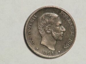 PHILIPPINES 1881 10 Centimos Silver XF - Scarce Date
