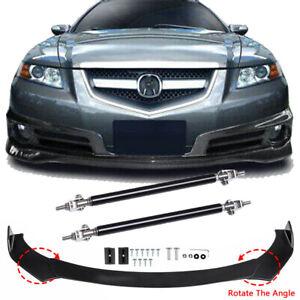 Car Front Bumper Lip Splitter Spoiler + Strut Rods Fit For Acura TL 2004-2008