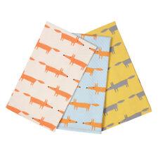 Scion Mr Fox Set of 3 Tea Towels Gift Box Kitchen Dish Cloths Blue Yellow Print