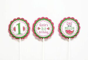 Watermelon Girl 1st Birthday Cupcake Toppers One in a Melon Summer Party Decor