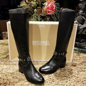 New Womens MICHAEL KORS Black Heather Leather Knee High Riding Moto Boots Sz 8