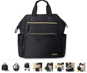 SKIP HOP Mainframe Wide Open Backpack Diaper Bag Black Pouch NEW W TAGS NWT, $75