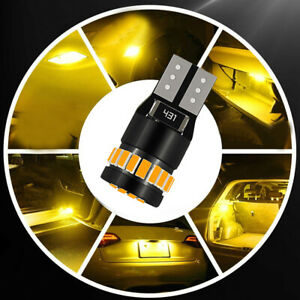 4Pcs T10 LED Car Side Marker Parking Light Bulb 194 168 158 3014 Amber Yellow
