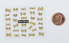 Gold Cute Bows 3D Designs Nail Art Stickers Decals Tips Decoration