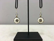 Earrins Conch Shell Round Buddhism Dangle Etched Silver Flower Earrings E156