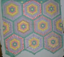 Quilt Top Hexagons Flower Garden Walk Large Blocks Green Walkway Feedsack Cotton