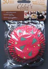 50ct-Chloe's Christmas Baking Cupcake Muffin Liners-Full Size-Xmas Trees Motif