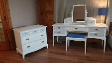 dressing table set Inc stool, mirror and chest of drawers