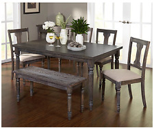 Dining Table Set For 6 With Bench Rectangle Rustic Farmhouse Kitchen Furniture