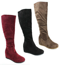 WOMENS LADIES CASUAL CONCEALED WEDGE HEEL SEQUIN KNEE HIGH BOOTS SHOES SIZE 3-8